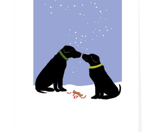 greeting card set black labs with simple gift in snow holiday cards