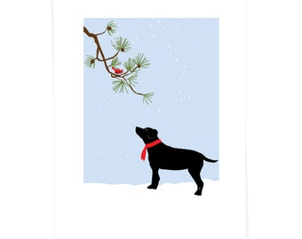 Greeting Card Collection Yellow or Black Lab with Cardinal on White Pine 4 cards set