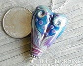 Julie Nordine . Large Hole European Style Handmade Art Glass Heart Bead 11 . Sterling Lined . Copper . Lampwork . SRA