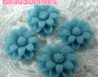 Further Markdown - CA-CA-01210 - Turquoise blue mini flower Cabochon, 8 pcs
