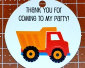 construction theme round thank you tags, favor tags, gift tags - set of 25