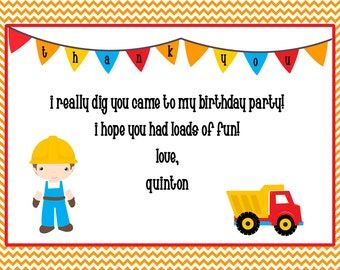 construction printable thank you card, 5x7, do it yourself