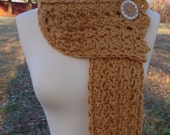Crochet Mustard Gold Scarf Neckwarmer Women Accessory Winter Fall Feminine Fashion Neck Short Button Teen Teenager Girl Trendy