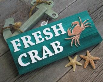 Sandblasted Fresh Crab Wood interior decor sign beach lake ocean