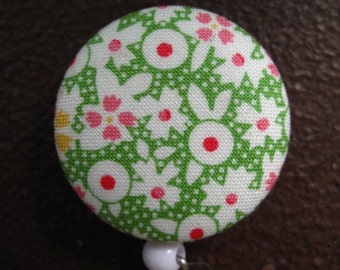 Clip On Retractable Badge Reel / Lanyard with Fabric Covered Button -  Pink, White and Yellow Flowers on Green