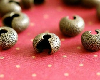 Nickel Free 25pcs Antique Bronze Stardust Crimp Bead Cover 4mm