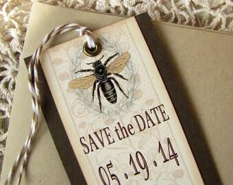 Wedding Save the Date Bookmark Vintage Bee Laurel Wreath Set of Ten