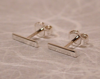 10mm x 2mm Modern Bar Studs Sterling Silver Minimal Earrings Contemporary Jewelry by Susan SARANTOS