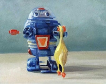 Funny Bot - 9x12 original oil on canvas