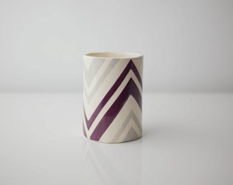SALE 25% 0ff - Grey & Plum Zag Vessel
