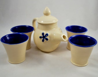 Teapot with Four Tea Cups in Cobalt and White Stoneware Clay Pottery Free Shipping