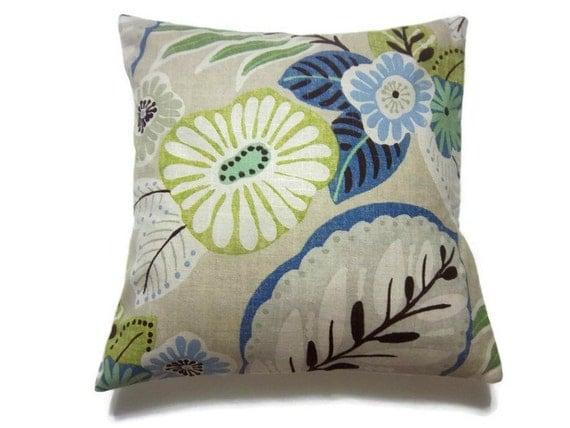 Decorative Pillow Cover Blue Chartreuse Brown Mint Green Handmade  Modern Floral Toss Throw Accent 16x16 inch x