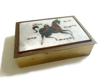 Modernist Matte Cloisonne Enamel on Brass Box  Horse Motif