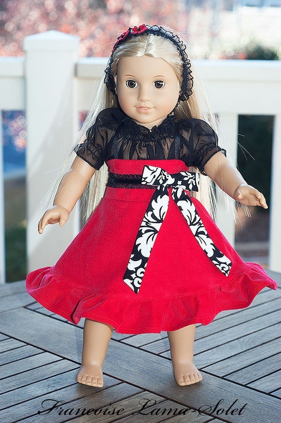 "American Girl Christmas doll clothes red back damask twirl dress 18"" doll dress -  Bella Milano"