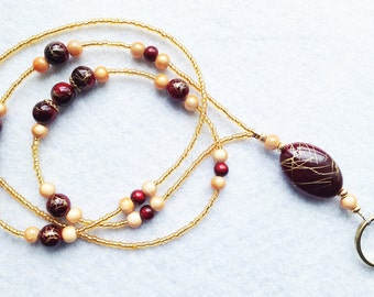 The Orient - beaded badge lanyard - red and gold glass beaded ID badge lanyard necklace for teacher nurse gift