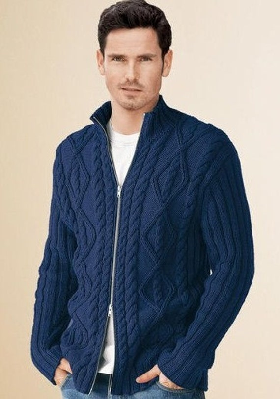 Mens Jacket Sweater Hand Knit Cabled Pattern with zipper