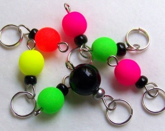 Hand Made Stitch Markers -- Neon With Black