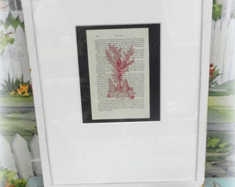 Vintage Beach Inspired Sea Coral Framed Upcycled Book Page - Beach Style Wall Art, Wall Decor