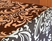Designer Dog Crate Cover ALL sizes - Dog Bed Duvet Covers - YOU Choose Fabric - Ozborne Damask Village Brown/Natural shown