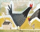 Chicken Art Print - folk art - painting - watercolor - of a farmer feeding his chicks - kitchen art,  8 x 8 inch print by cori dantini