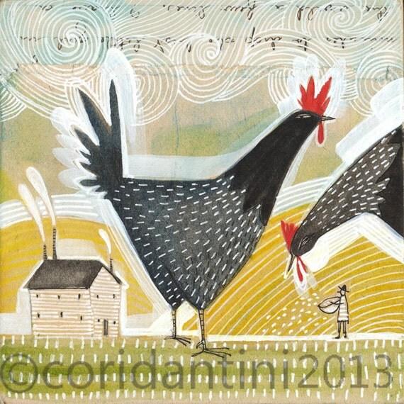 Kitchen Folk Art: Chicken Art Print Folk Art Painting Watercolor Of A