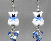 Adorable Blue and White Polar Bear Handcrafted Artisan Lampwork and Swarovski Crystal Earrings by Glitterbug Originals SRAJD