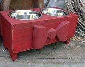 Dog Feeder, Elevated Feeding Stand, Wood Bow, Custom, Old Red