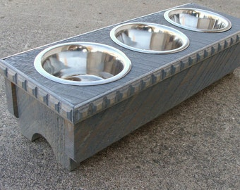 3 Bowl Feeder, Bowl Holder, Elevated Dog Feeder, Cat Feeder, Feeding Stand,  Custom