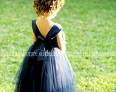 Baby Flower Girl Dress Natural Navy dress Mini Flower Girl