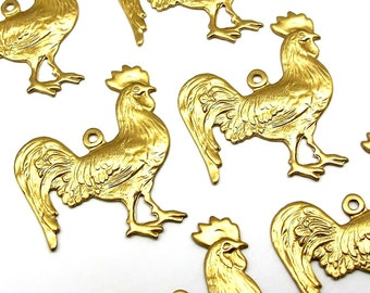 Brass Rooster Chicken Charms (6X) (M643)