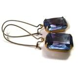 Rhinestone Earrings, Violet Fuschia Glass Rhinestone Rectangle Octagon, Brass Dangle Earrings, Free Shipping U.S.