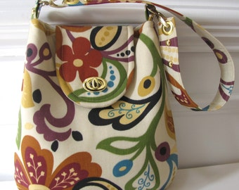 Floral Purse, Handbag with Flap and Turn Lock Closure
