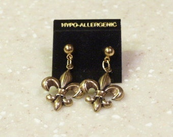 Gold Fleur De Lis Post Earrings