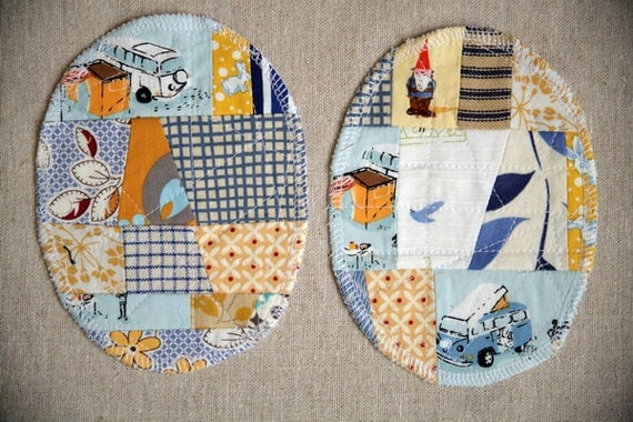 Patchwork Knee Patches - set of 2 blue yellow
