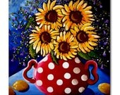 Sunflowers Red Polka Dots  Fun Colorful  Whimsical Folk Art Ceramic Tile