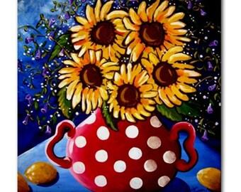 Sunflowers Red Polka Dots  Fun Colorful  Whimsical Folk Art Ceramic Tile