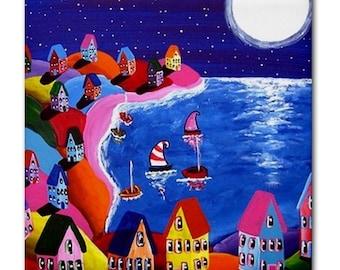 Moonlight Sail Shoreline Colorful Whimsical Folk Art Ceramic Tile