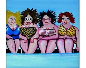 Swimming Pool Divas Fun Whimsical Colorful Folk Art Ceramic Tile
