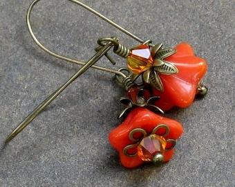 Orange Glass Flower Earrings, Fire Opal Swarovski Crystals, Antique Brass Kidney Wires... Delicate Floral Dangles