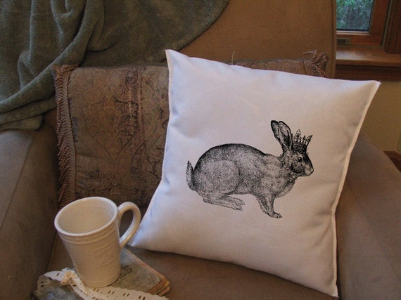 Decorative Pillows With Rabbits : bunny rabbit queen throw pillow cover decorative throw