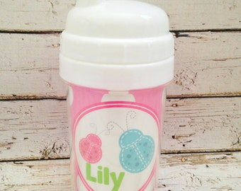 personalized PREPPY girl spill proof sippy cup with ladybugs