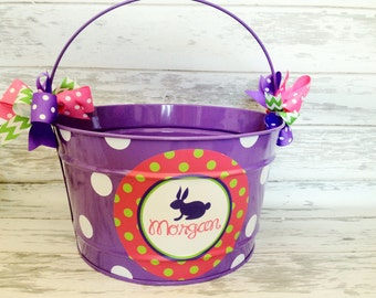 custom personalized 16 QUART bucket for Easter featuring purple, pink and green