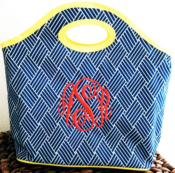 Monogrammed Basket Weave Lunch Totes