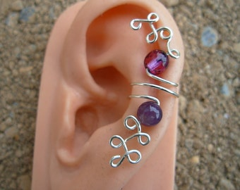 Hand Wrapped Silver Ear Cuff with Real Amethyst No Piercing Required