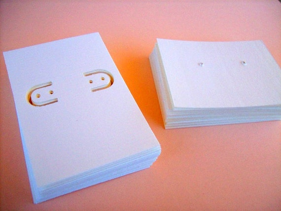 60 earring cards, soft white, kraft, ivory, lever back and post