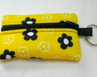 Yellow Floral Coin Purse - Yellow Black Change Purse - Floral Small Zip Pouch - Floral Coin Purse Key Chain - Yellow Earbud Case