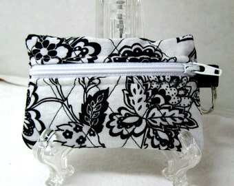 Quilted Coin Purse - Flowers Change Purse - Small Zippered Pouch - Black White Ear Bud Case
