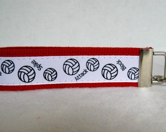 Volleyball Key Fob RED Sports Key Chain Wristlet