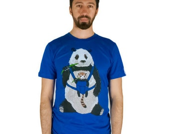 Panda T-Shirt, Cute Animal T-Shirt, Red Panda T-Shirt, Blue T-Shirt, Mens t shirt sizes S M L XL XXL