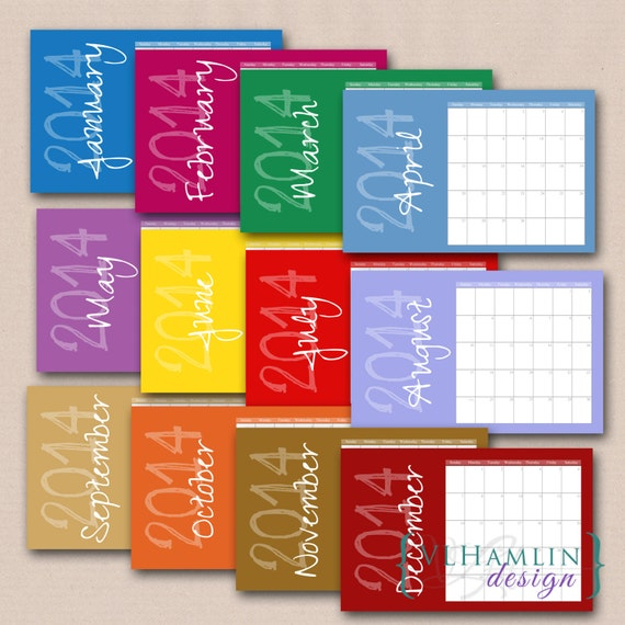 2014 Printable Calendar, Solid Colors Monthly Calendar